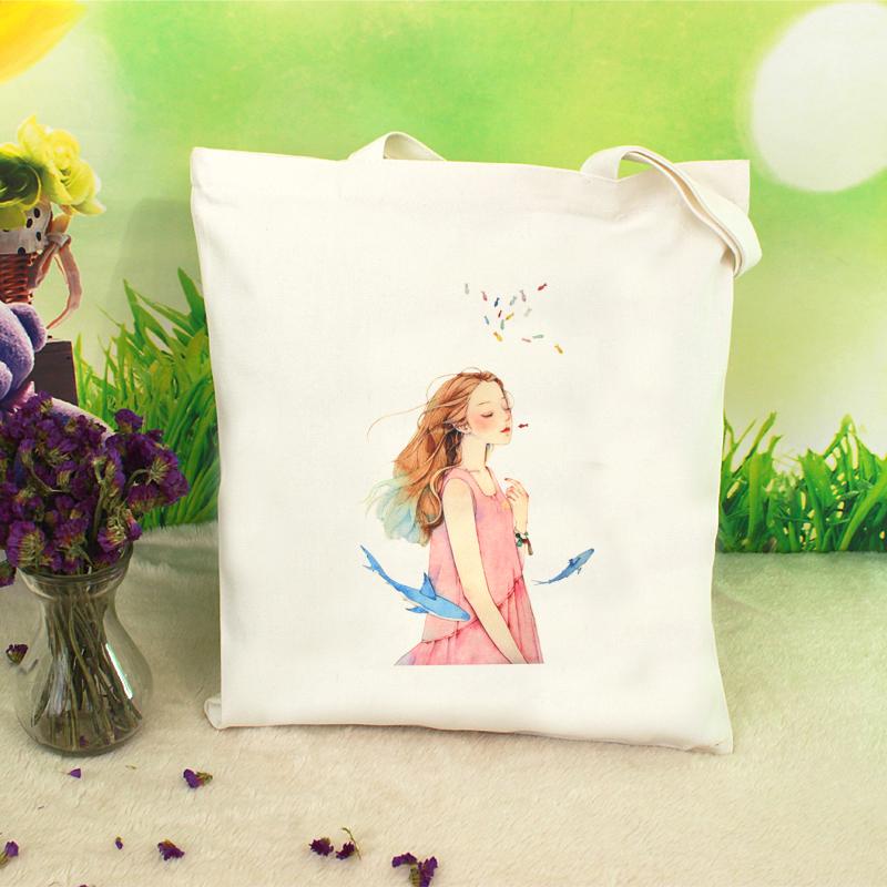 Korean canvas bag womens one shoulder portable simple small literature and art fresh student schoolbag simple versatile shopping bag