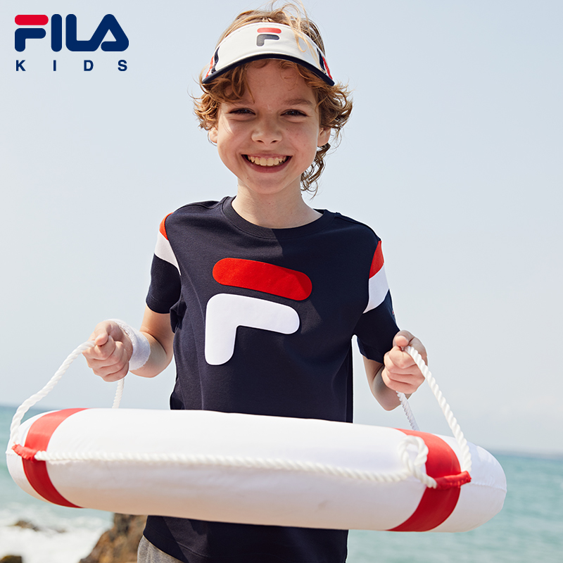 FILA children's flagship store boys' short sleeve T-shirt 2020 summer new children's pure cotton sports half sleeve trend