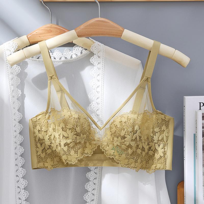 透气蕾丝性感透明防凸点女海棉内衣