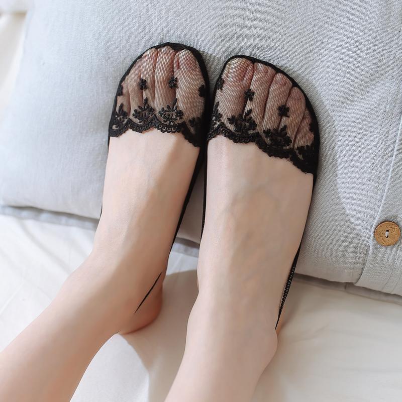 半掌袜 女吊带隐形船袜夏季薄款蕾丝前掌袜半脚半截高跟鞋袜子潮