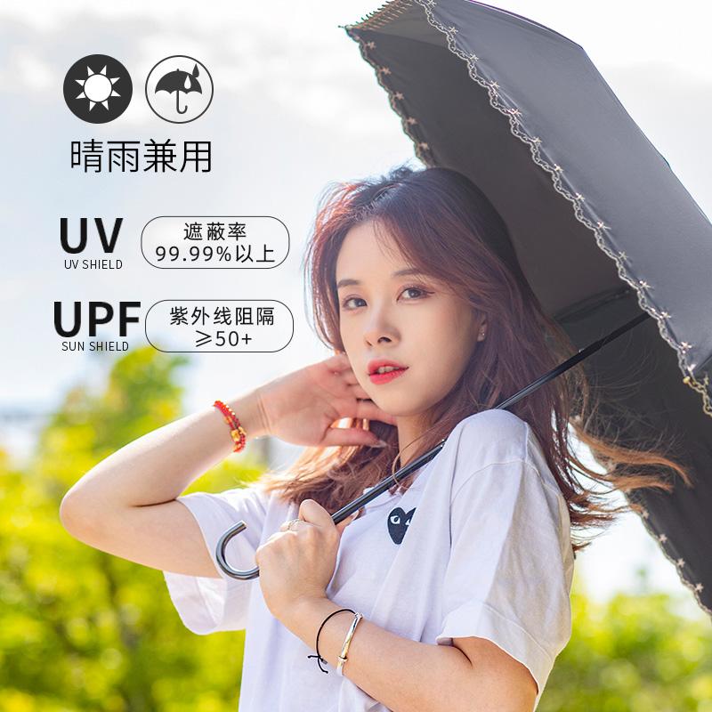 Wpc.日系小清新小巧晴雨伞防紫外线铝合金手柄防晒伞太阳伞遮阳伞