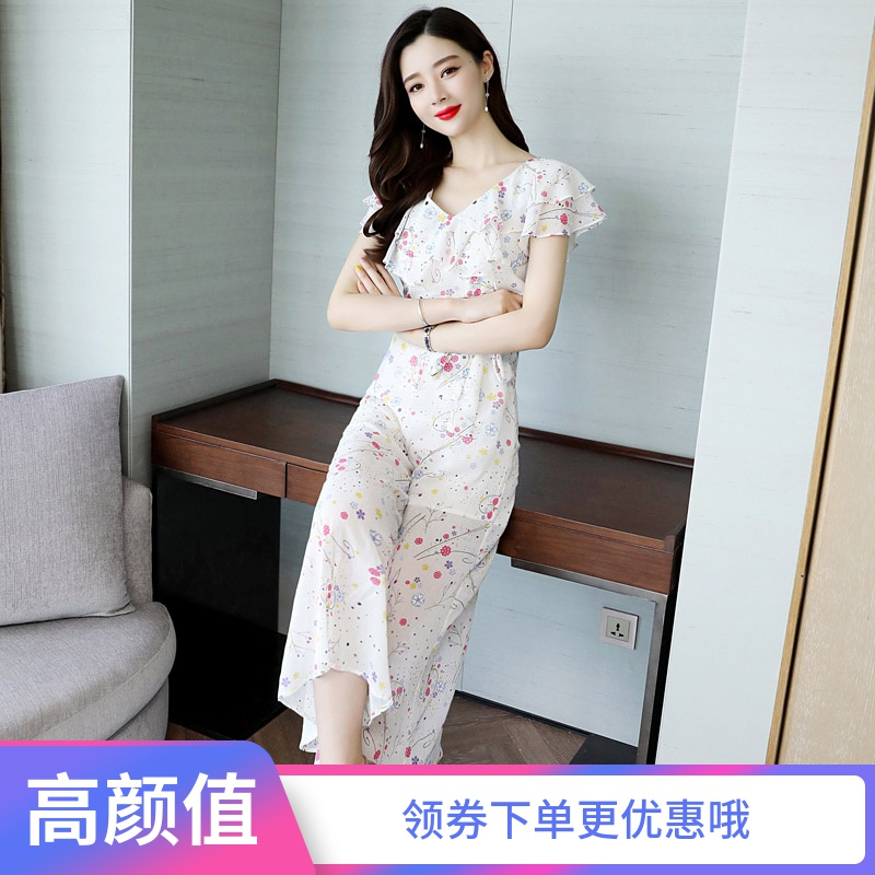 Chiffon floral wide leg pants Jumpsuit womens summer 2020 new high waisted slim and slim casual Romper