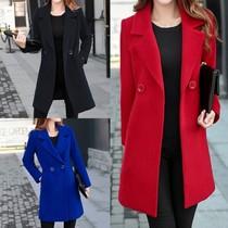 2019春秋新款加肥加大码女装呢子大衣胖妹妹中长款羊毛呢西装外套