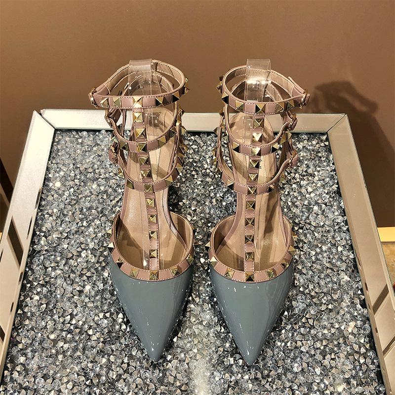 铆钉高跟鞋女2020春季新款一字带扣细跟尖头网红仙女风柳丁凉鞋夏图片