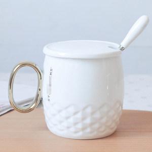 杯子陶瓷带盖勺大容量情侣杯办公室喝咖啡杯低价经典黑金款马克杯