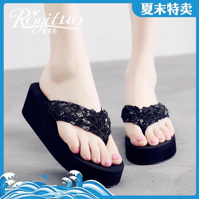 2020新款夏季拖鞋女韩版防滑厚底坡跟亮片布带凉拖时尚外穿人字拖