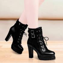 温州品质单靴2020春秋季新款女靴子时尚马丁靴防水台粗跟高跟短靴