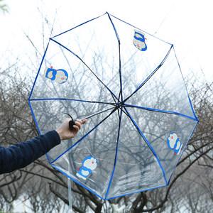韩国小清新学生青年男女折叠透明雨伞机器猫塑料可爱时尚动画雨伞