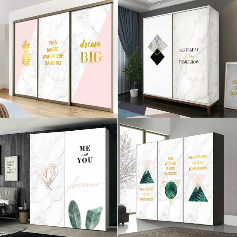 北欧ins大理石衣柜门贴纸翻新改造贴画自粘玻璃推拉移门家具装饰