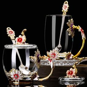 家用珐琅彩花茶杯珐琅杯创意礼品杯