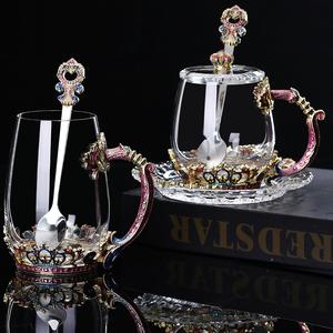 皇冠珐琅彩水杯花茶杯套装高档奢华茶杯创意欧式耐热玻璃杯带勺盖
