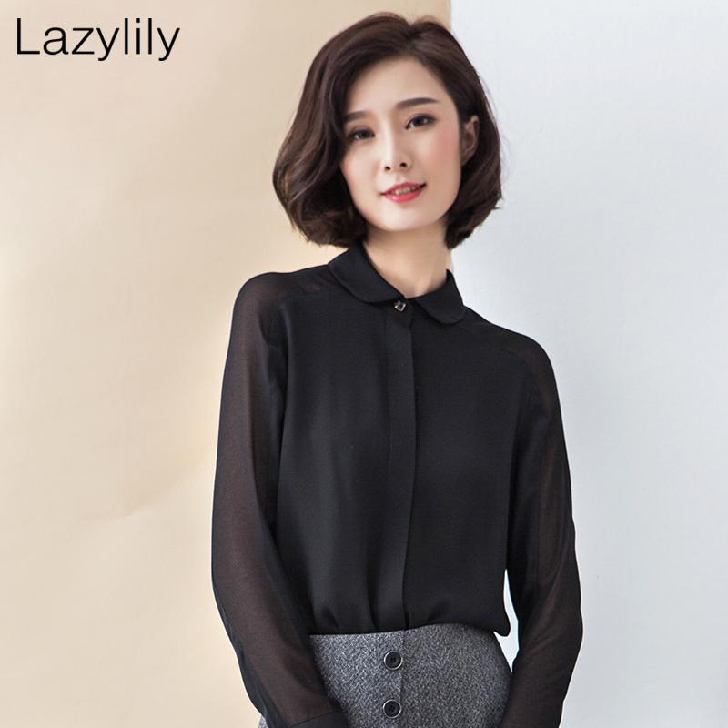 lazylily春夏雪纺设计感小众小衬衫