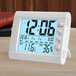 学生创意闹钟简约座钟台钟电子钟表多功能静音床头时钟温湿度夜光