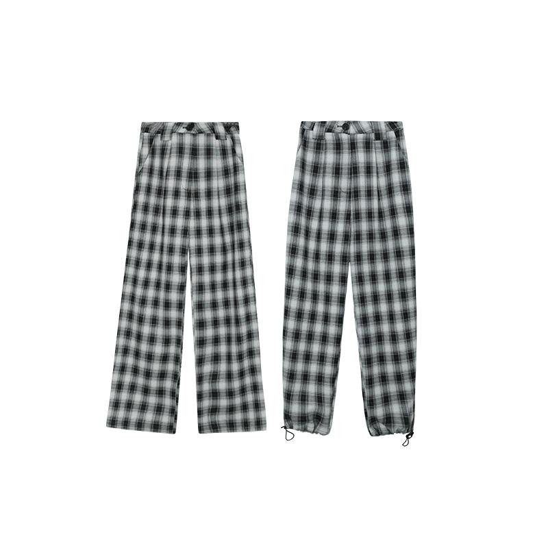 张贝贝ibell黑白格子裤2020年夏季薄款休闲阔腿裤女高腰宽松垂感