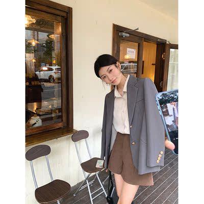 张贝贝ibell设计感休闲气质西装外套女2021秋冬新款百搭韩版上衣