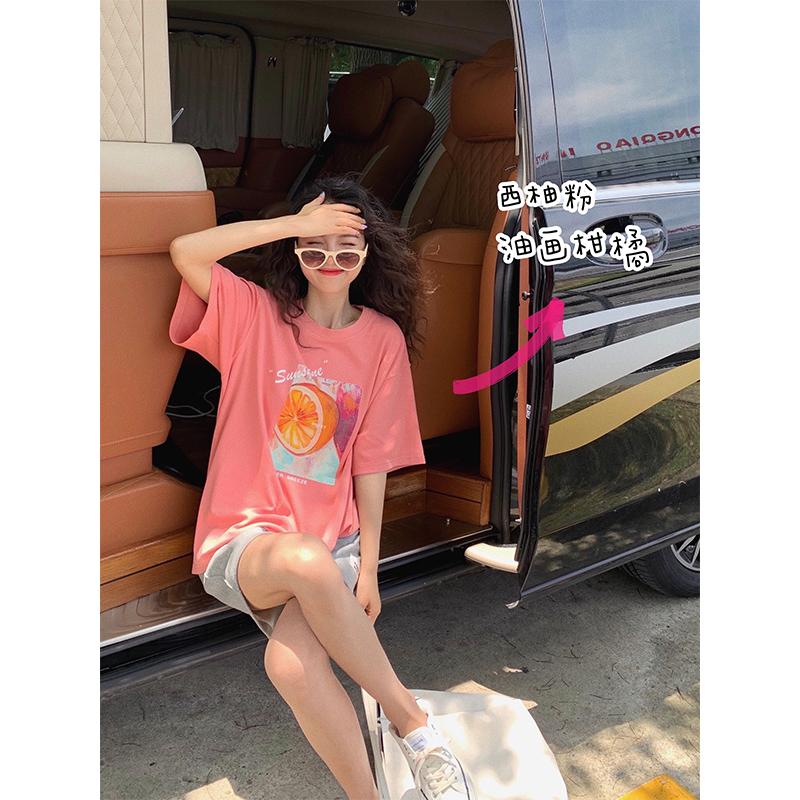 张贝贝ibell2020新款夏季湖蓝色上衣洋气复古韩版印花短袖t恤女潮