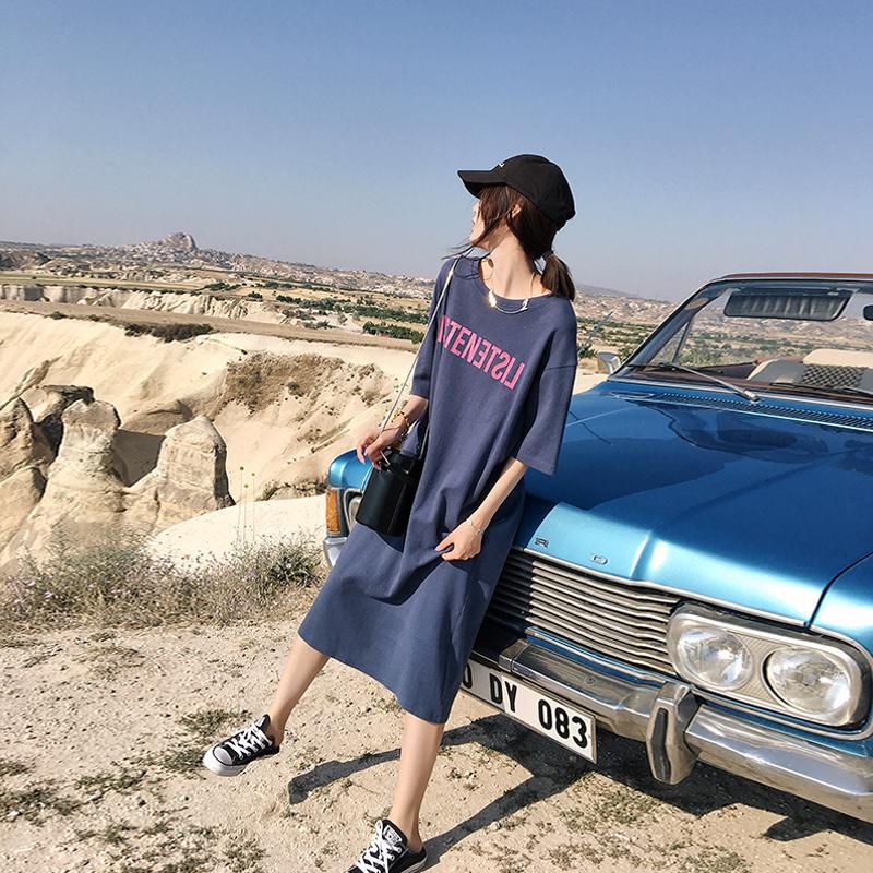 张贝贝ibell2018夏季新款ins超火的连衣裙时尚宽松过膝T恤裙女