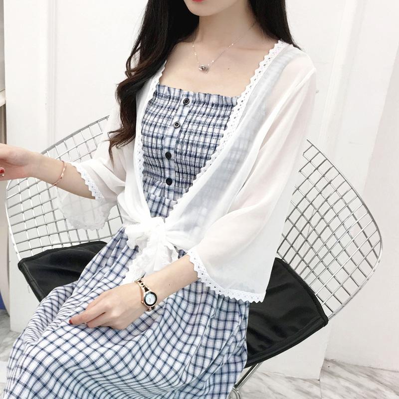 夏季短款防晒开衫女上衣仙女雪纺薄外套搭配吊带裙的小外披肩罩衫