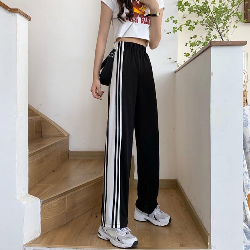 夏季韩版2020新款高腰显瘦条纹开叉撞色运动风薄款休闲长裤女裤子