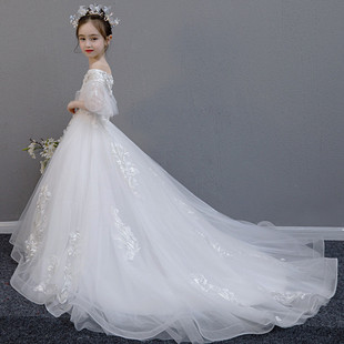小女孩的公主婚紗裙10歲生日白色禮服拖尾花仙子伴娘兒童鋼琴演出