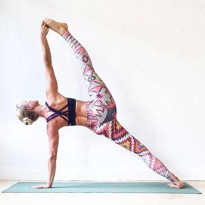 春夏季爆款欧美印花瑜伽裤速干透气吸汗高腰弹力显瘦紧身健身长裤