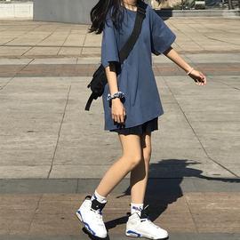 网红纯色夏季雾霾蓝短袖t恤女新款韩版原宿港风学生宽松上衣服