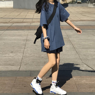網紅純色夏季霧霾藍短袖t恤女新款韓版原宿港風學生寬鬆上衣服