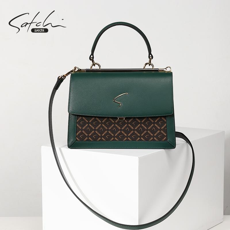 SATCHI/沙馳【新品推薦】女包時尚拼接手提包氣質單肩斜跨包洋氣