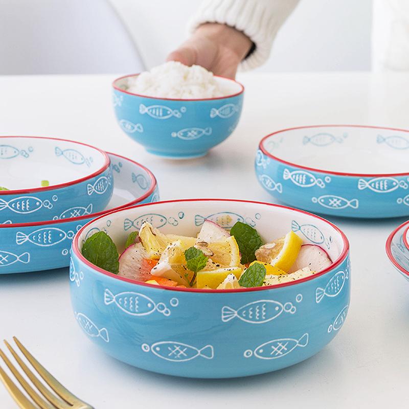 日式餐具可爱碗盘碗碟套装家用瓷碗饭碗好看漂亮吃饭的陶瓷碗网红
