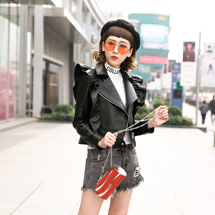 Leather womens short 2018 spring and autumn new leather coat Korean version slim sheep skin Ruffle leather jacket