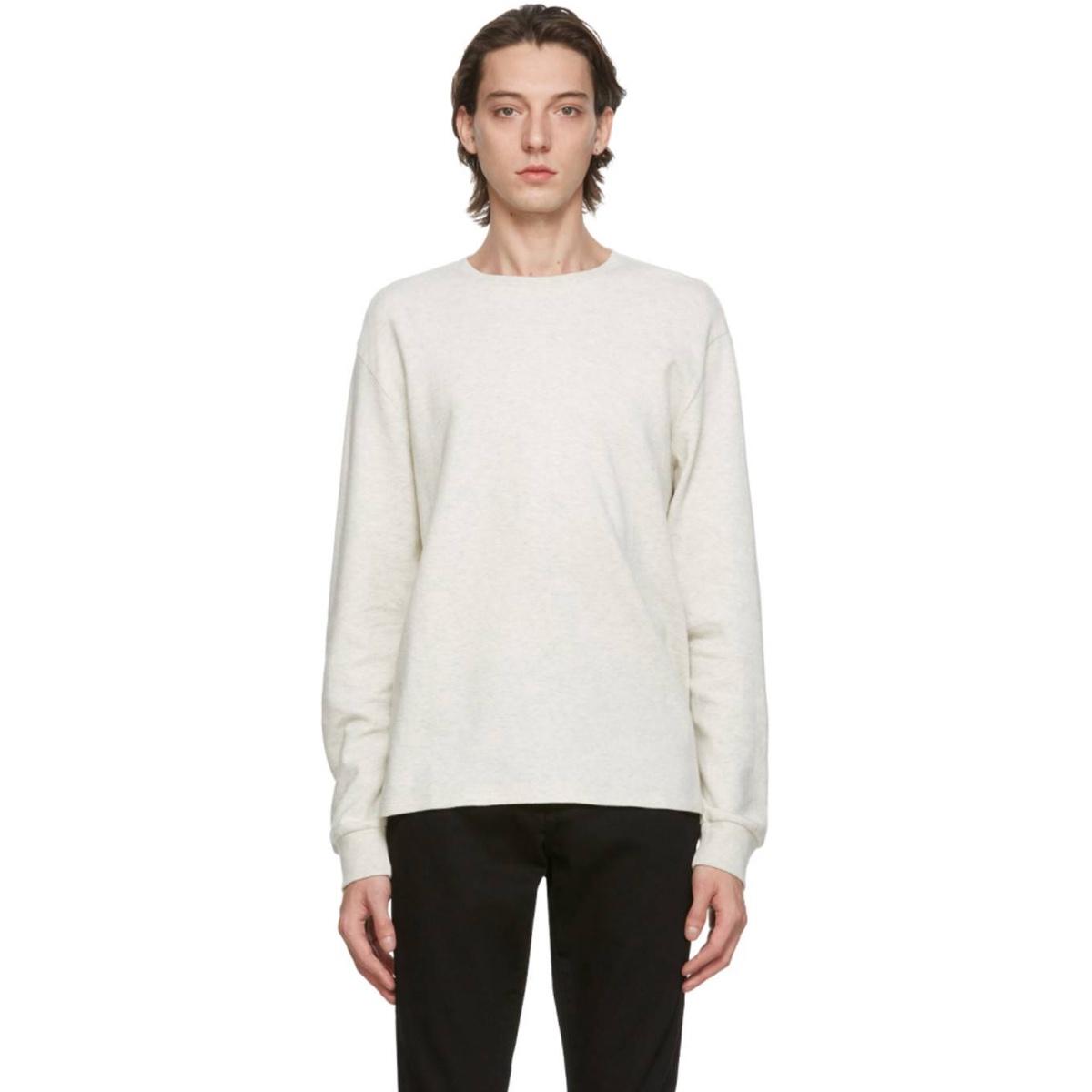 包税代购FrameDenim男灰色长袖T恤2021新款奢侈品透气体恤宽松