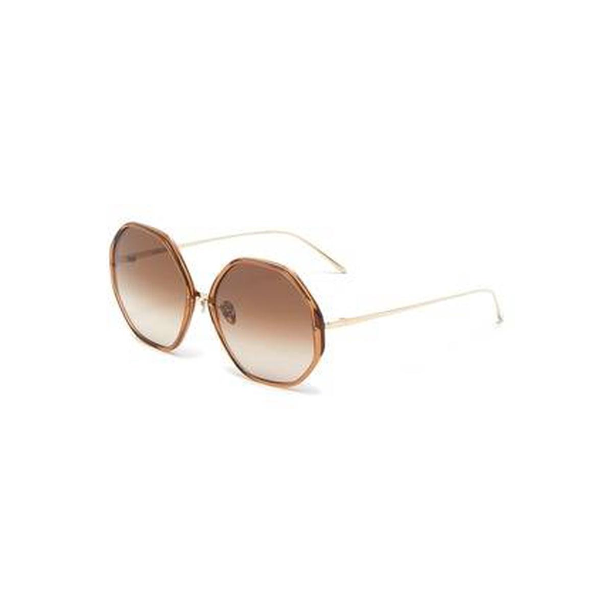 Linda Farrow 'Alona' Duo-tonal Frame 超大号六边形太阳眼镜