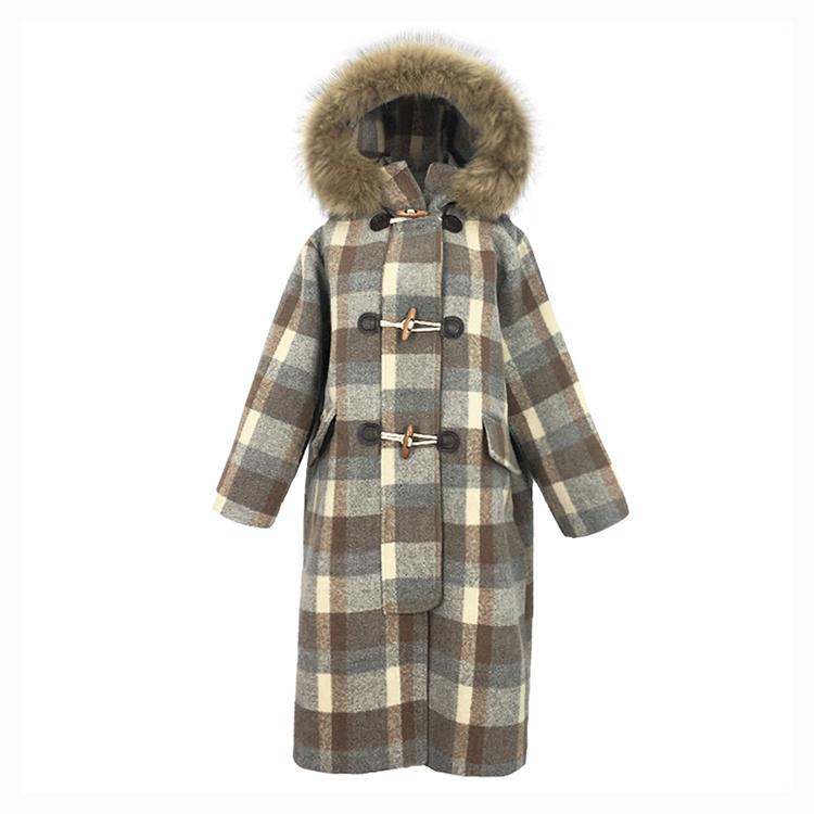 8808-P150格子毛呢+假毛领呢大衣