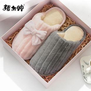 棉拖鞋女冬季天室内可爱情侣韩版家居家用月子厚底防滑毛拖鞋男潮