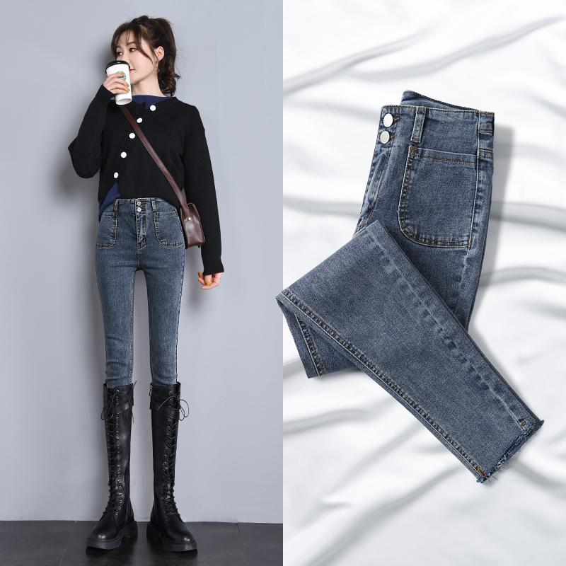 牛仔裤女2020年新款春季百搭流行显瘦显高紧身高腰小脚裤子女装潮