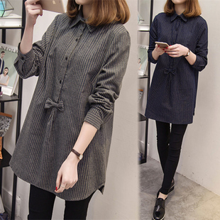 Autumn large size women fat mm winter 2017 new loose favorite princess long section fat sister shirt covering belly shirt