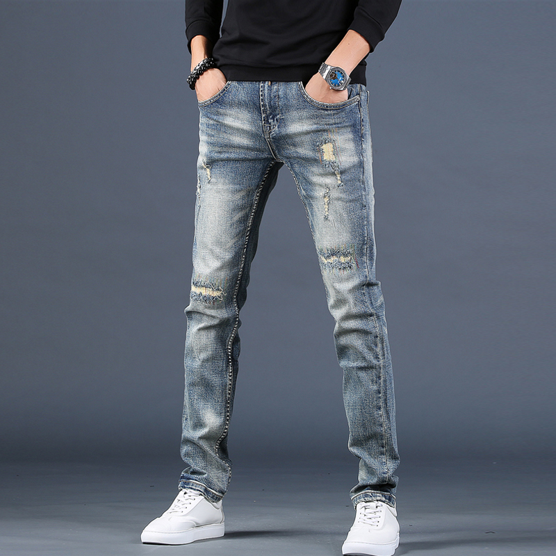 Summer thin high-end broken cave jeans men's slim feet pants 2021 new tide cards casual long pants