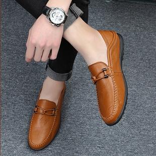 一脚蹬棉鞋 豆豆鞋 男懒人鞋 男真皮男鞋 男士 子男 春季 休闲皮鞋 加绒鞋
