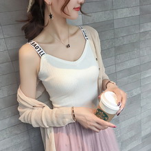 Camisole female summer take a knit black white carefully machine fresh sling bottoming shirt sleeveless top outside wearing tide