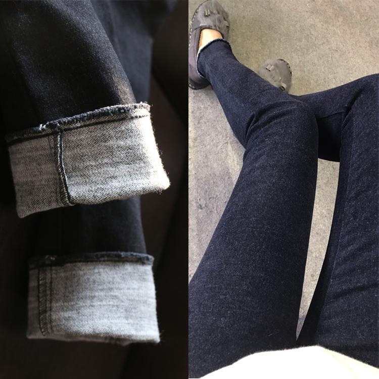 进口面料磨毛拉绒加厚中高腰显瘦弹力女毛边小脚牛仔裤铅笔裤