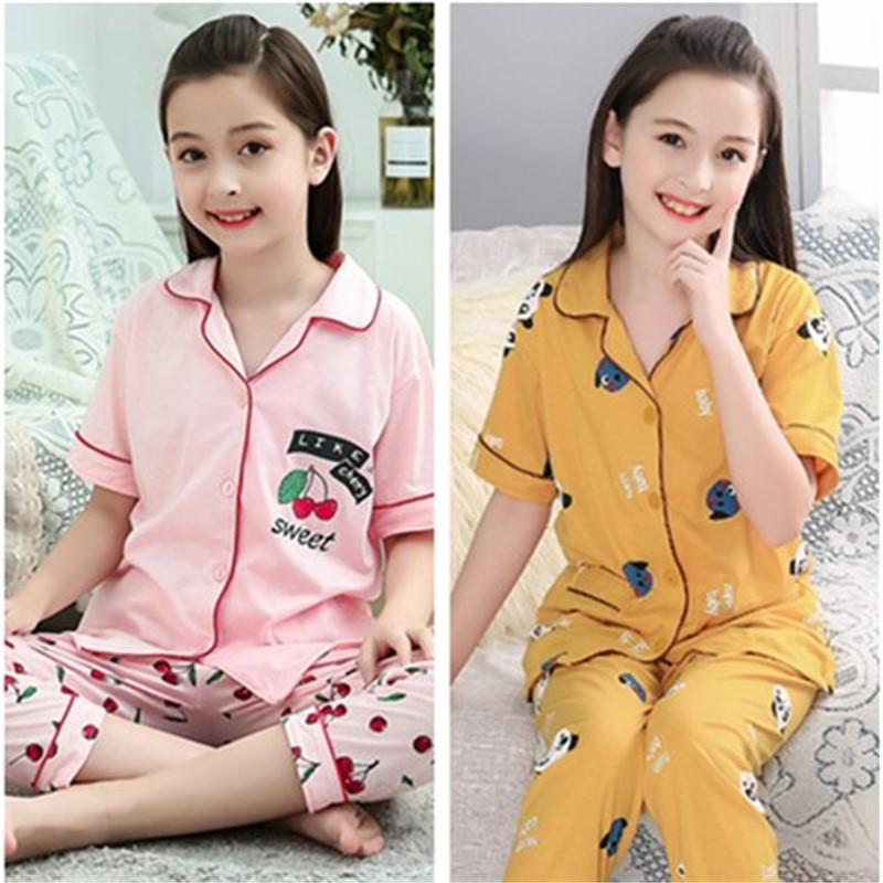 Girls pajamas summer thin pure cotton middle and large childrens short sleeved trousers lovely princess little girl 3-15 years old home clothes