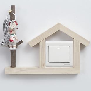 木直創意原木北歐開關貼牆貼保護套客廳開關裝飾簡約燈開關裝飾貼