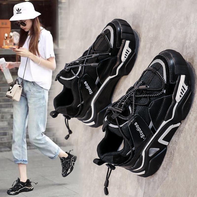 老爹鞋女ins潮网红小ck2020新款春季休闲运动鞋黑色智熏鞋女超火