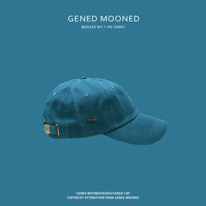 夏季帽子男潮牌软顶弯檐鸭舌棒球帽显白蓝色ulzzang遮阳帽子男女