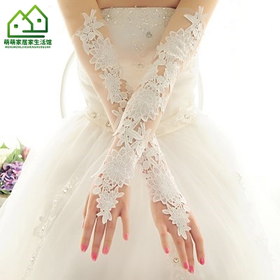 Girls flower girl children wedding dress dress dress princess dress show Dress Lace Satin Lace Long Gloves