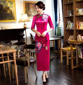 走秀金丝绒冬中袖旗袍2020新款女秋冬季长款加厚中国风长
