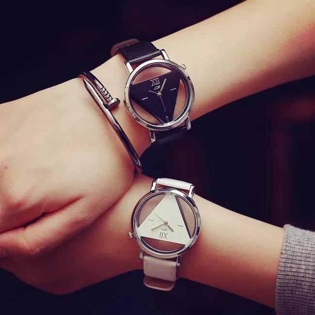 簡約潮流 EXO同款時尚三角鏤空腕表韓版皮帶情侶手錶微商禮品推薦