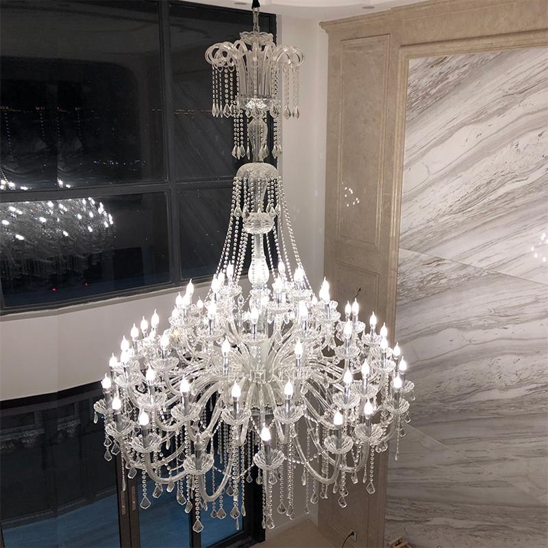 欧式水晶复式楼大吊灯长楼梯吊灯现代简约大气家用客厅灯别墅大厅