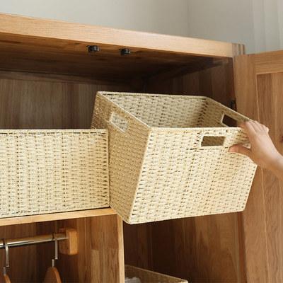 編織收納筐 桌面整理箱 零食雜物收納盒 玩具籐編收納 家用籃子