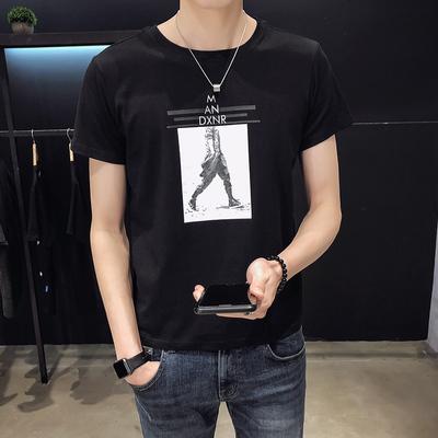 2019夏季男士短袖t恤韩版修身潮流帅气印花体恤P35控价58 F6
